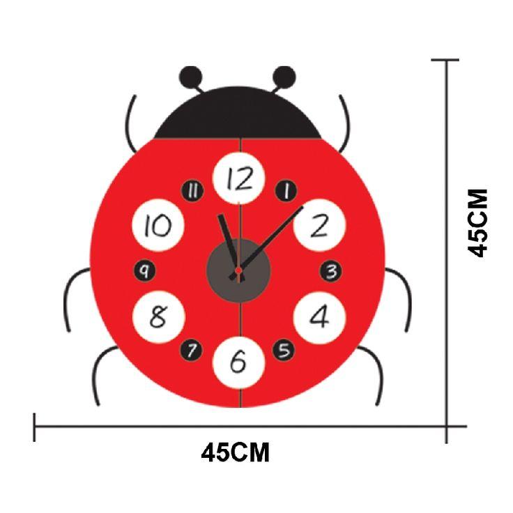 Leuke klok voor de kinderkamer, babykamer  lieveheersbeestje   - www.swoodz.nl  - 14,95 euro