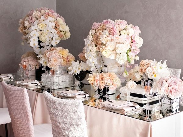 .: Coco Chanel, Blushes Wedding, Blushes Pink, Mirror Tables, Colors Palettes, Bridal Shower, Places Cards, Chairs Covers, Blushes Flowers