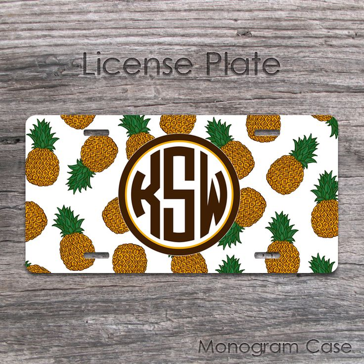 Circle monogrammed license plate with hawaiian pineapples printThis design can be made for a license plate frame as well!When you ready to purchase? Please provide the following information in the notes section when you check out: 1: Name , letter or monogram in order of First, LAST, Middle name .