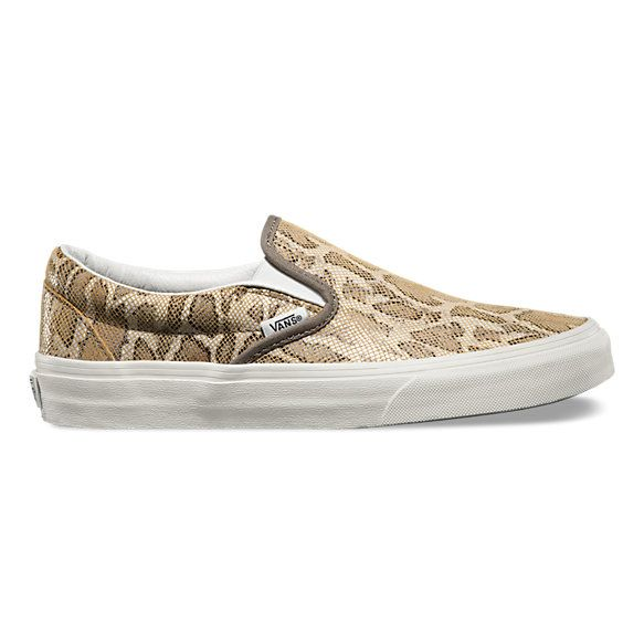 The Snake Classic Slip-On features low profile slip-on leather uppers, padded collars, elastic side accents, and signature waffle outsoles.