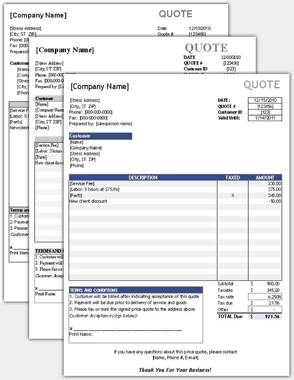 Download a simple Price Quote template for Excel. Easily create price quotes to send to a client or customer.
