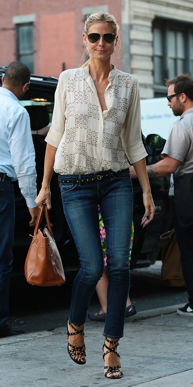 Heidi Klum's A+ Outfit Equation: Print Blouse + Stud Accessories..bureauofjewels/etsy and facebook..XXX