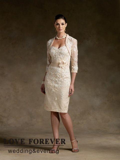 Champagne met jacket best selling moeder van de bruid jurken kant knielengte