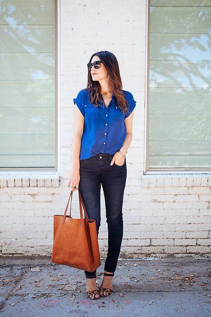 cobalt / black / cognac / leopard heels // member Kendi of Kendi Everyday