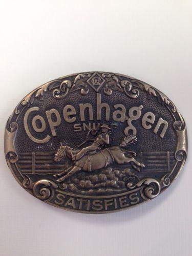 Copenhagen Snuff Satisfies cowboy belt buckle Solid Brass rodeo bucking bronco