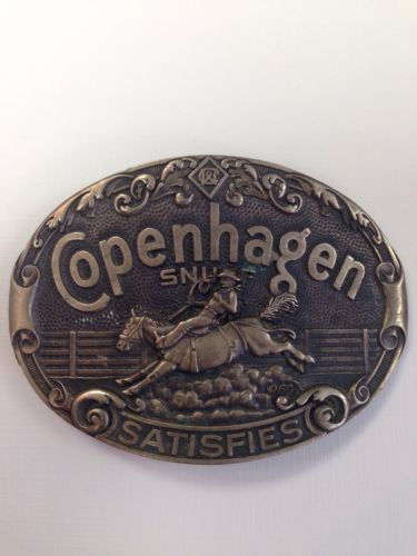 Copenhagen Snuff Satisfies cowboy belt buckle Solid Brass rodeo bucking bronco