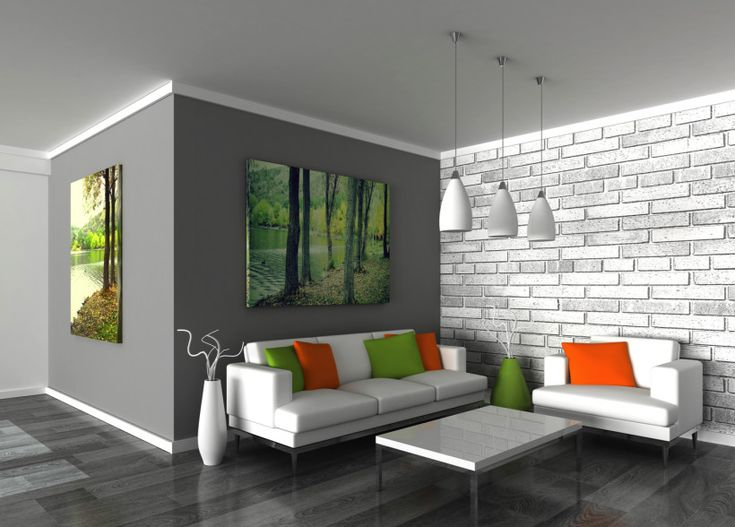 Dark Grey Painted Walls With Brick Feature Wall And Stunning Green Toned Tree Pictures