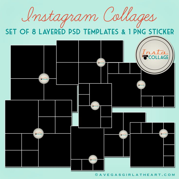 "This is a set of 8 digital collage templates in PSD format. The photo spots are all square, perfect for Instagram photos. Each template has an ""Insta Collage"" sticker layer, which can be turned off. The set also comes with the sticker as a separate PNG file, so that you can use it in your digital..."
