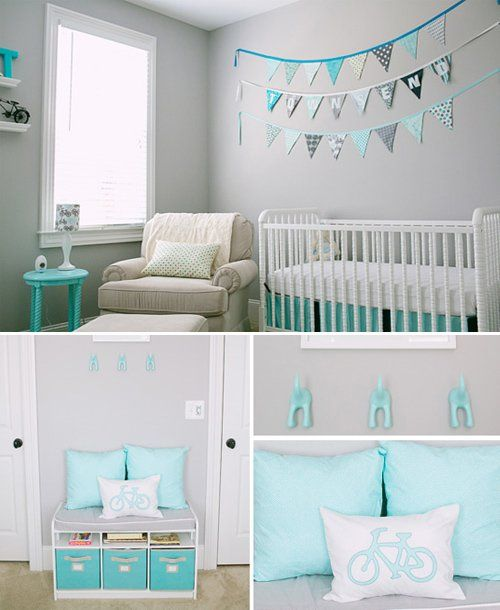 Nursery Decor: Grey and white with turquoise accents