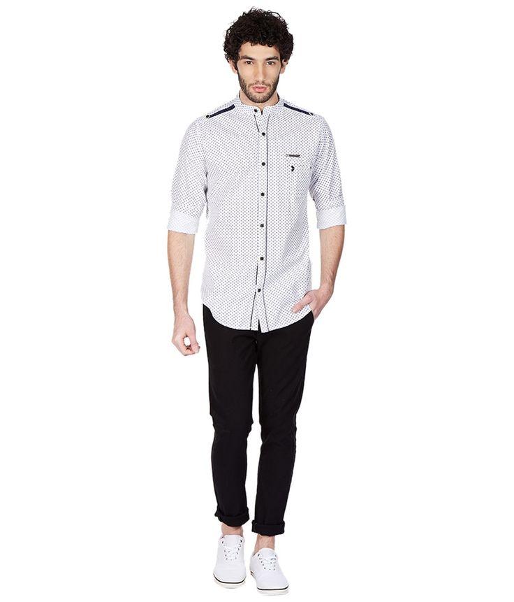 Skie Studio White Full Sleeve Casual Shirt