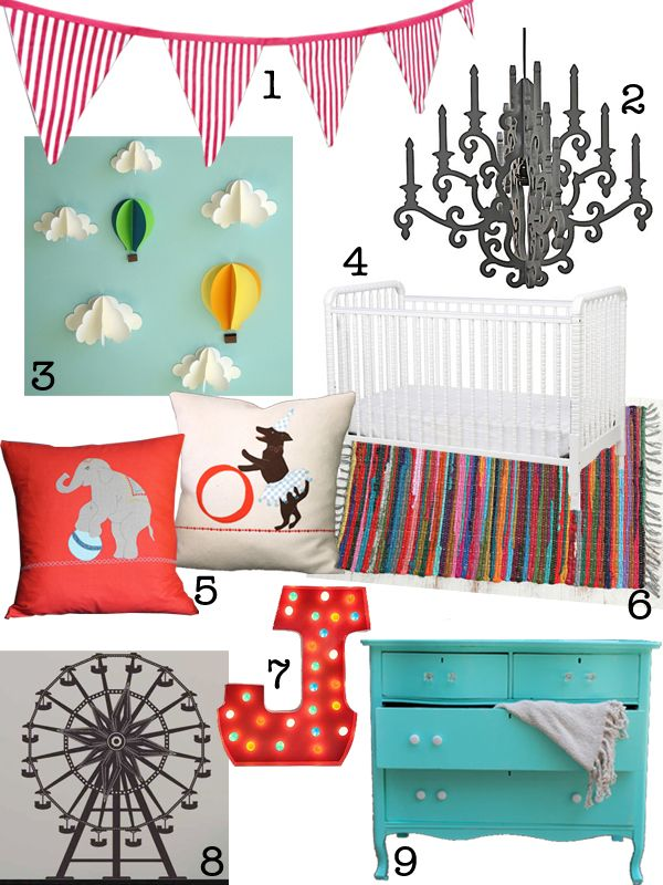 Fun at the Circus! A Carnival Inspired Nursery Design Board. gender neutral boy girl