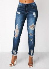 Elastic Waist Pocket Light Blue Shredded Jeans | Rosewe.com – USD $32.87