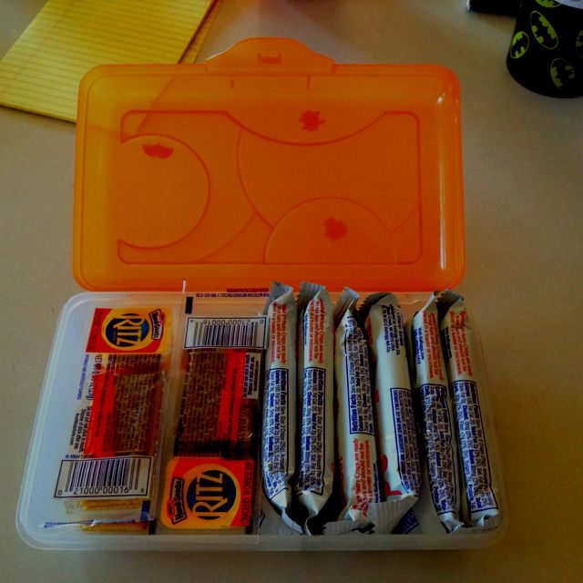 Use a pencil box for Snacks that get crushed in the diaper bag. (i.e. trip to the zoo etc...)