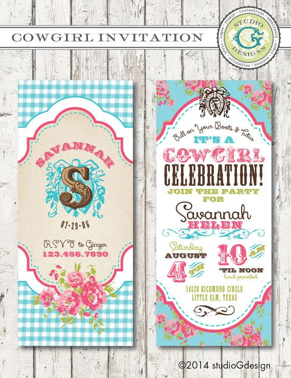 VINTAGE COWGIRL Birthday Party INVITATION -- Printable digital file or personalization for printing