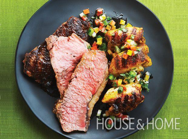 Grilled Steak and Chicken Swords With Tomato Salsa | Ryan Szulc