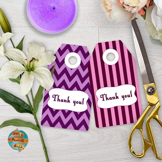 Thank You Tag purple stripes and chevron gift anniversary