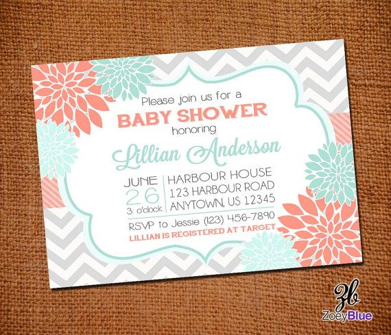Floral Coral Mint Chevron Baby Shower Grey by ZoeyBlueDesigns, $12.00