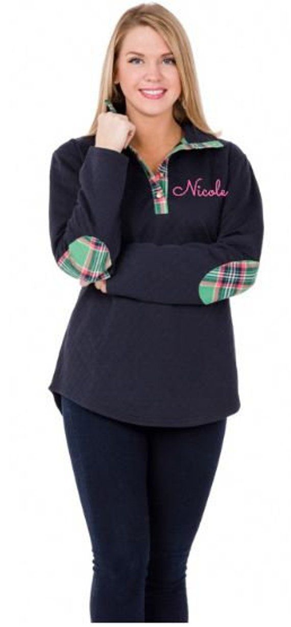 063945cec89 Monogrammed Navy Quilted Pullover Tunic with Green Plaid patches in 2019 |  Products | Navy quilt, Monogram pullover, Tunic