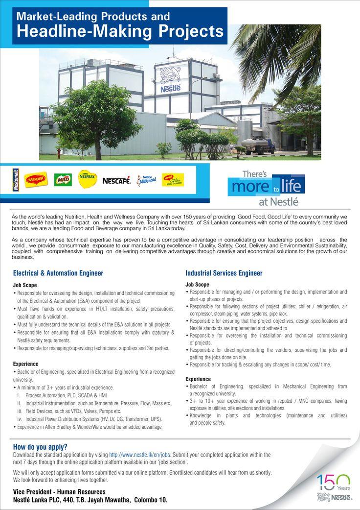 Engineer At Nestle Lanka Plc  Career First  Engineering Jobs