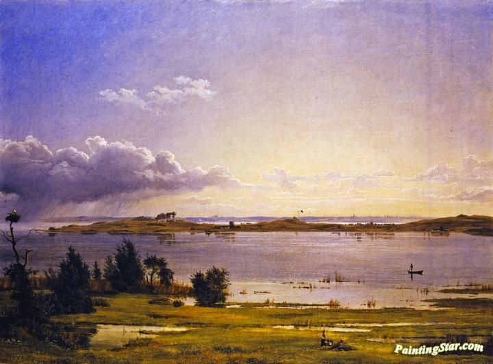 Landscape at Arresø Artwork by Johan Thomas Lundbye Hand-painted and Art Prints on canvas for sale,you can custom the size and frame