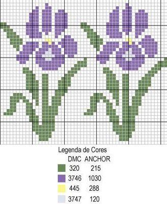 fleur - flower - iris - point de croix - cross stitch - Blog : http://broderiemimie44.canalblog.com/