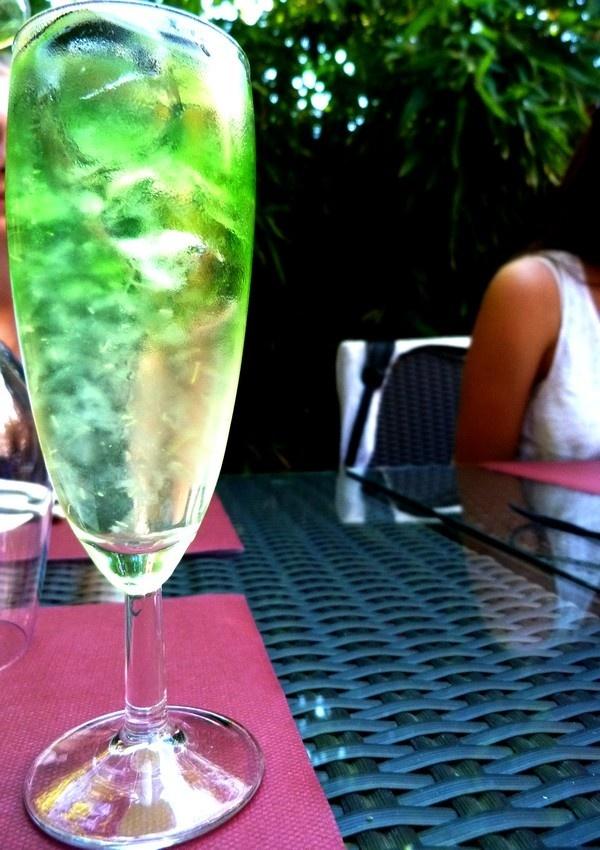 Indonesian cocktail: Pisang, a banana alcohol + aloe vera juice