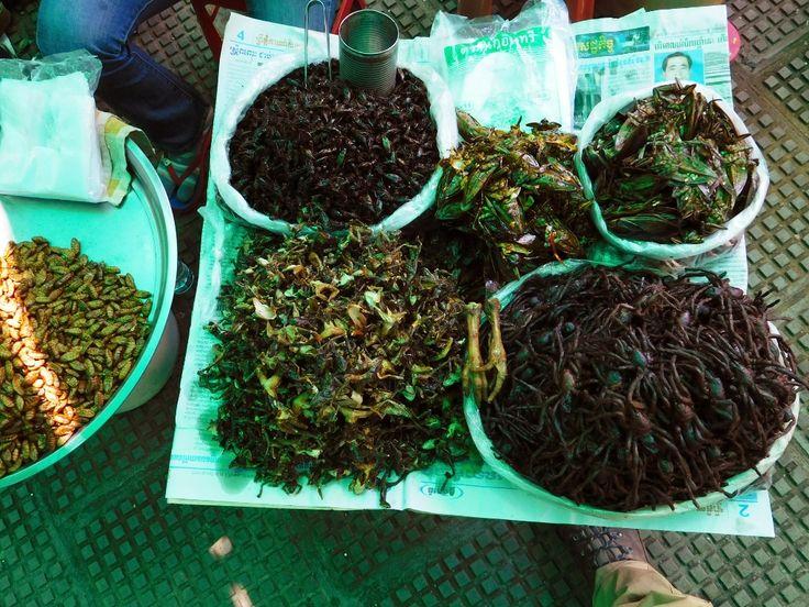 Insectes & tarentules au marché central de Phnom-Penh