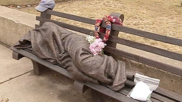 "A southern Ontario artist says he's ""very, very happy"" that his homeless Jesus sculpture is being used to help the most marginalized people in society. Tim Schmalz's sculpture depicting a homeless Jesus sleeping under a blanket on a park bench was unveiled a week ago in downtown Buffalo, N.Y., and has already prompted people to leave money, food and other items."