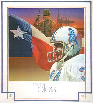 Houston Oilers 1979 NFL Theme Art Poster by Chuck Ren - DAMAC Inc.