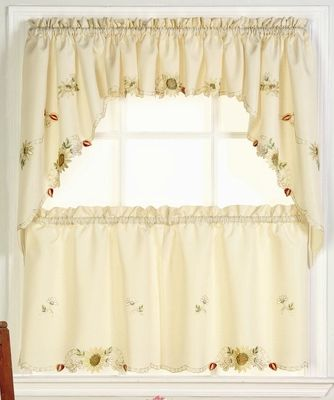 Sunflowers Embroidered Kitchen Curtain   Linens4Less.com