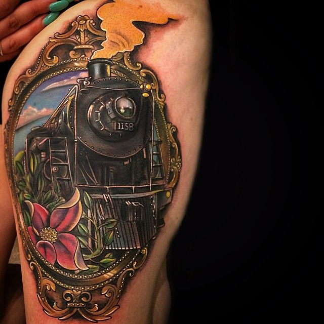 Train Tattoo by: Johnny Smith @ The Boston Tattoo Convention (Aug. 2014) www.johnnysmithart.bigcartel.com