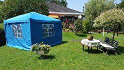 Amazon.de: Vanage Pavillon Stella aus Aluminium mit 2 Seitenwänden, Faltpavillon einsetzbar als Gartenpavillon, Party- und Festzelt, Camping- und Festival-Zelt, Gartenmöbel, weiß, 300x300x260cm