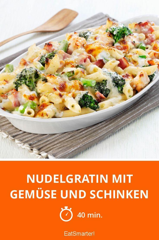 Nudelgratin mit Gemüse und Schinken - smarter - Zeit: 40 Min. | eatsmarter.de