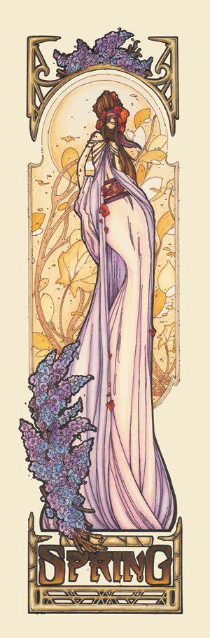 "Mucha Style - "" #BrandiMilne"" "" #Spring"" Illustration in style of ""Alphonse Mucha"""