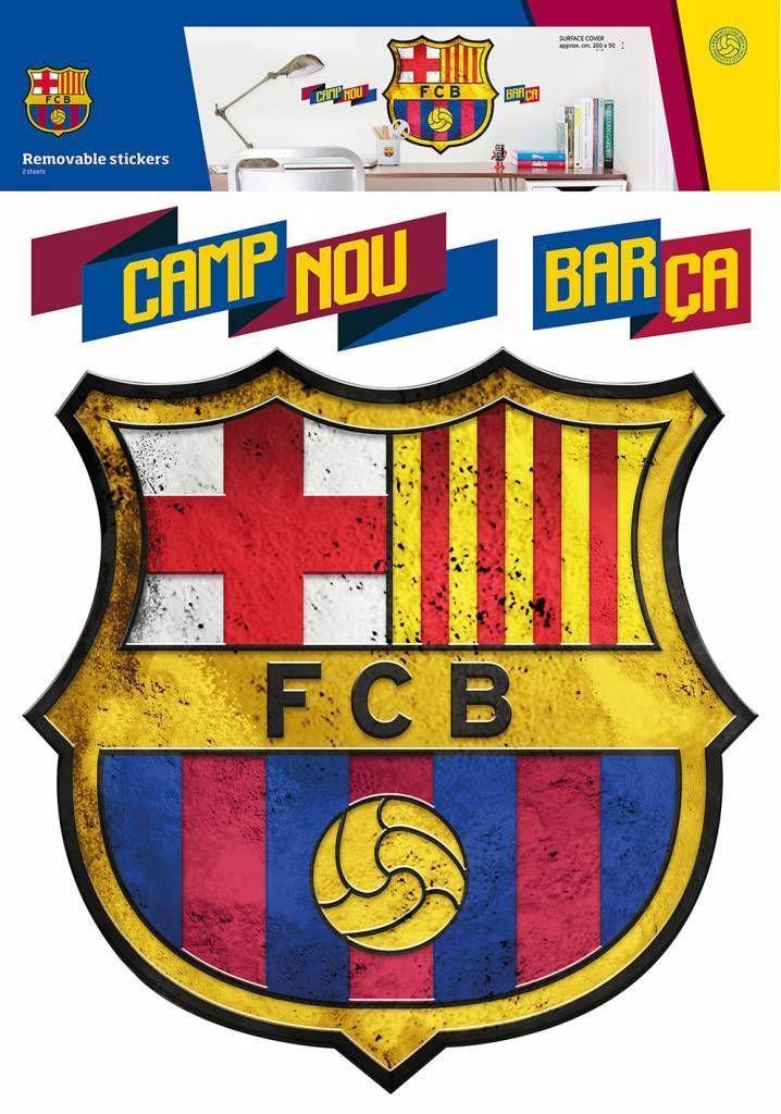 FC Barcelona Logo - Muursticker - 45 x 54 cm - Multi  #voetbal #cadeau #laliga #premierleague #voetbalkids