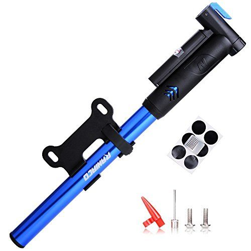 Mini Bike Pump,Raniaco 120PSI Portable Bicycle Frame Pump with Gauge,High Pressure Cycling Pump for Presta & Schrader,With Tire Patch Kit and Ball & Balloon air Inflation Needles