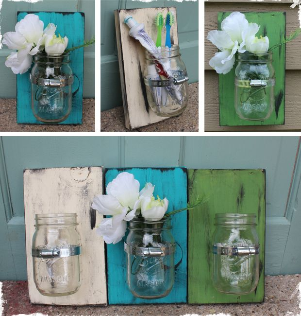 reclaimed wood, garden hose clamp, mason jar, and a sawtooth hanger on the back.: Diy Mason Jar, Wall Vase, Mason Jars In Bathroom, Bathroom Toothbrushes, Diy Project, Craft Ideas, Vase D I Y