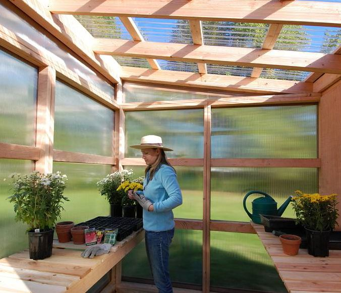 modern garden shedgreenhouse pirgola w clear siding roof