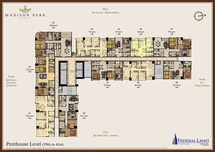 madison park west penthouse floor plan 39th to 41st floor