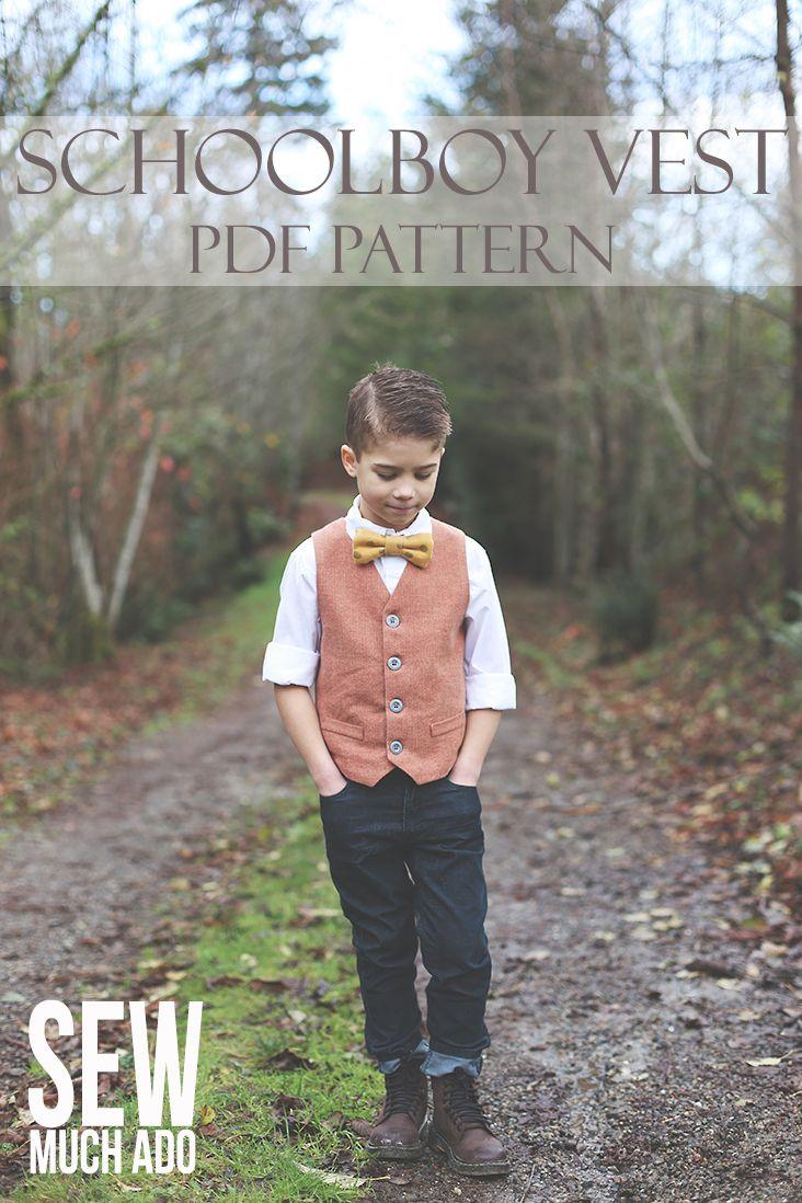 Boy's Vest Pattern - sooo dapper! Schoolboy Vest Pattern #sewmuchado #schoolboyvest #sewing #sewingpattern #boysvest #vestpattern #pdfpattern #boysewing