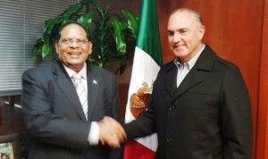 Prime Minister Moses Nagamootoo and Mexican Agriculture Minister Jose CALZADA during a recent meeting in Mexico