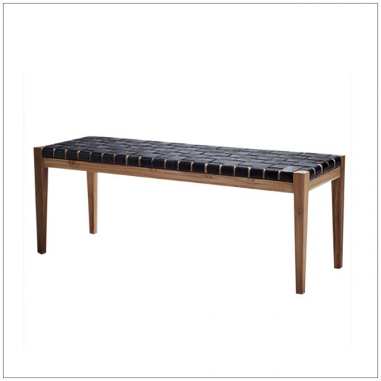 Interior bench in teakwood and leather, handmade on Bali