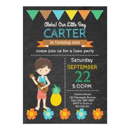 #Hawaiian Luau Birthday Invitation - #birthdayinvitation #birthday #party #invitation #cool #invitations