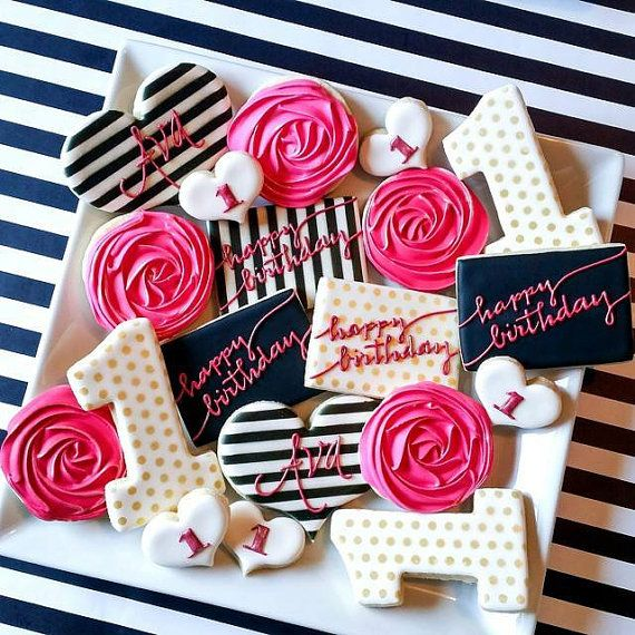 Kate Spade hot pink, black, white, gold custom cookies by MyDolceBakery. Etsy listing at https://www.etsy.com/listing/232261517/black-white-gold-hot-pink-kate-spade