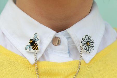 Arı ve Papatya Yaka Broşları