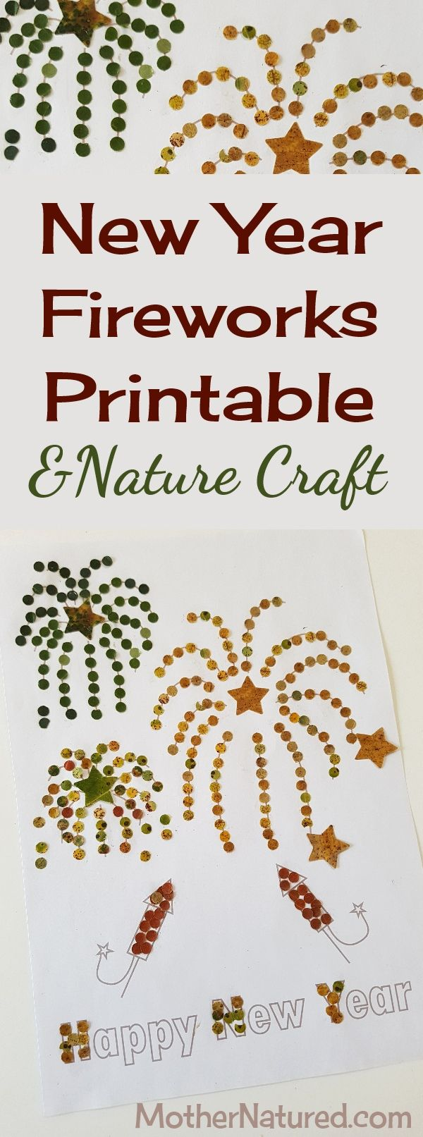 Free to download New Year Fireworks Printable & Nature Craft #newyearsday