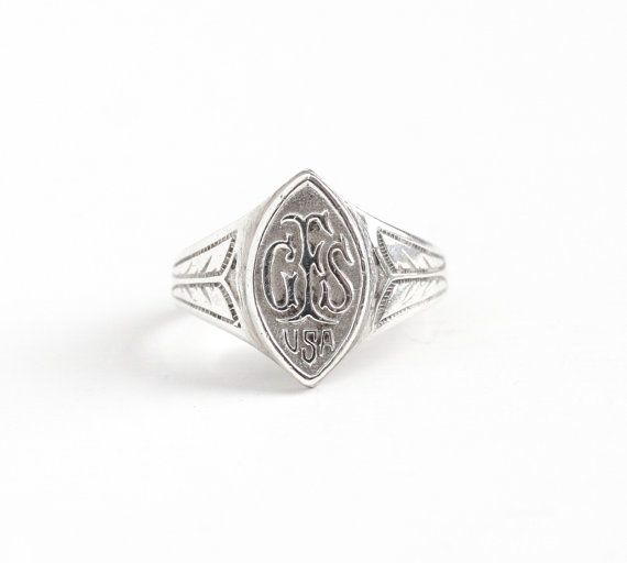 Sale - Vintage Sterling Silver GFS Girls' Friendly Society USA Ring - Size 7 Philanthropic Organization Membership Marquise Wheat Jewelry by Maejean Vintage on Etsy