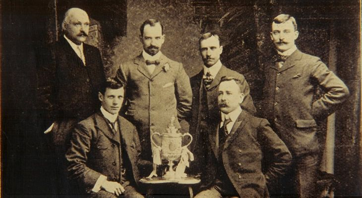 Spurs win The FA Challenge Cup to become the only non-League Club, following the formation of the Football League in 1888, ever to achieve this honour. Picture shows the directors of Tottenham Hotspur.