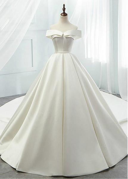 Satin off axel A-line bröllopsklänningar med bälte