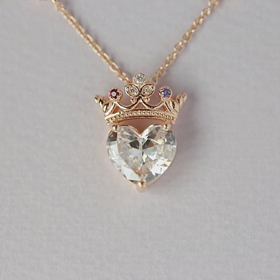 Jewelry Gift Crystal Crown Pendant Necklace Long Chain Queen Rhinestones Chic
